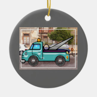 Tough Blue Tow Truck in the Street Christmas Ornament