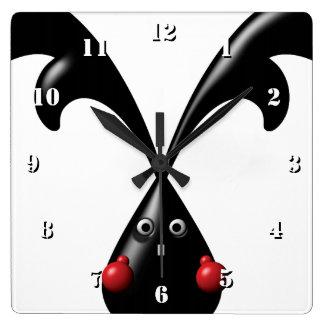 TOUGH BUNNY Cute Boxer Rabbit Square Wall Clock
