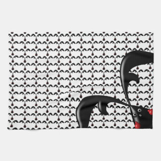 TOUGH BUNNY White- Cute Funny Boxer Rabbits Custom Tea Towel