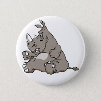 Tough Cartoon Rhino 6 Cm Round Badge