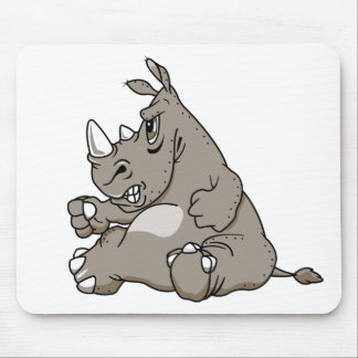 Tough Cartoon Rhino Mouse Mat