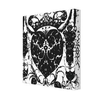 Tough Heart Tattoo Art Silhouette Wrapped Canvas Canvas Print