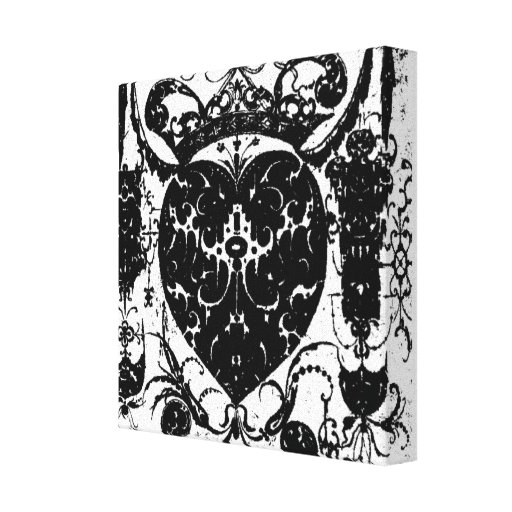 Tough Heart Tattoo Art Silhouette Wrapped Canvas Canvas Print