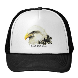 Tough Old Bird Fun Quote Bald Eagle Painting Mesh Hats