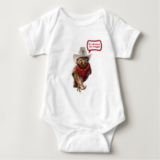 Tough Western Sheriff Owl with Attitude & Swagger Baby Bodysuit