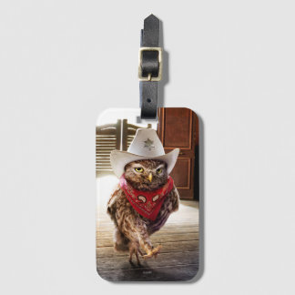 Tough Western Sheriff Owl with Attitude & Swagger Bag Tag