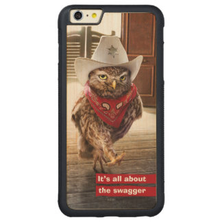 Tough Western Sheriff Owl with Attitude & Swagger Carved Maple iPhone 6 Plus Bumper Case
