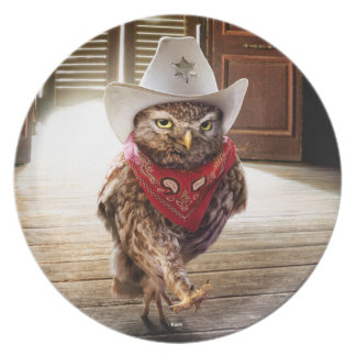 Tough Western Sheriff Owl with Attitude & Swagger Dinner Plate
