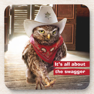 Tough Western Sheriff Owl with Attitude & Swagger Drink Coaster