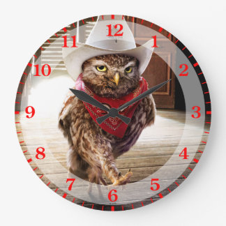 Tough Western Sheriff Owl with Attitude & Swagger Large Clock
