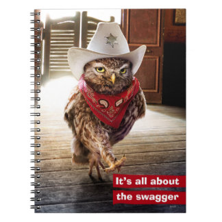 Tough Western Sheriff Owl with Attitude & Swagger Notebooks