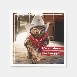 Tough Western Sheriff Owl with Attitude & Swagger Paper Napkin