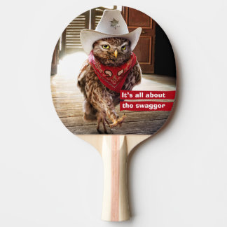 Tough Western Sheriff Owl with Attitude & Swagger Ping Pong Paddle