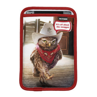 Tough Western Sheriff Owl with Attitude & Swagger Sleeve For iPad Mini