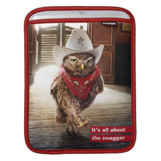 Tough Western Sheriff Owl with Attitude & Swagger Sleeve For iPads