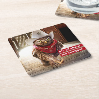 Tough Western Sheriff Owl with Attitude & Swagger Square Paper Coaster