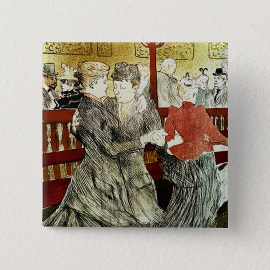 Toulouse-Lautrec - Dancing at Rouge 15 Cm Square Badge