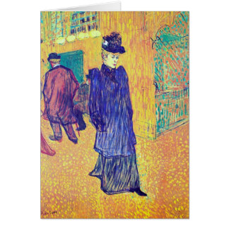 Toulouse-Lautrec - Jane Avril leaves the Ro Greeting Card