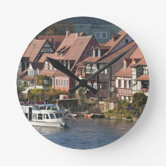 Tour boat in Little Venice and River Regnitz Clock
