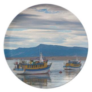 Tour boats on Seno Ultima Esperanza bay Plate