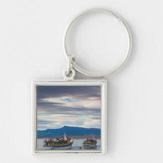 Tour boats on Seno Ultima Esperanza bay Silver-Colored Square Key Ring