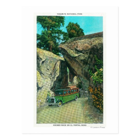 Tour Bus Under the Arch Rock on El Portal Road Postcard