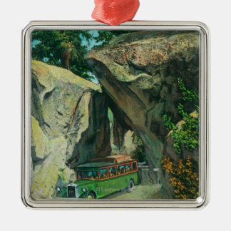 Tour Bus Under the Arch Rock on El Portal Road Silver-Colored Square Decoration
