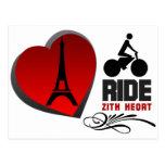 Tour De France Paris Heart Post Card