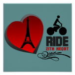 Tour De France Paris Heart Poster