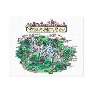 """Tour du Mont Blanc cartoon map - canvas 20"""" x 16"""""""