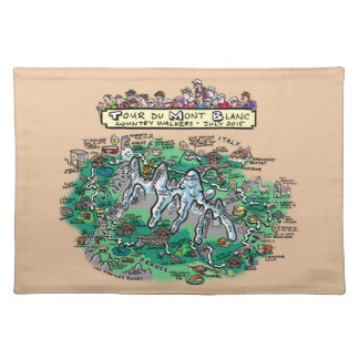 Tour du Mont Blanc cartoon map cotton placemat brn