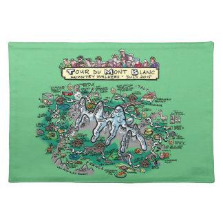 Tour du Mont Blanc cartoon map cotton placemat grn