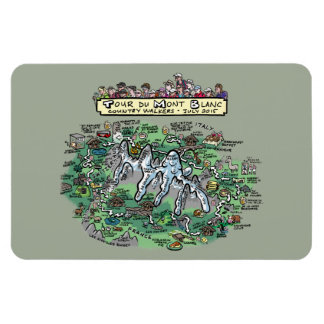 Tour du Mont Blanc cartoon map - magnet 4x6