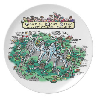 Tour du Mont Blanc cartoon map - melamine plate