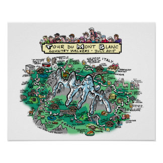 "Tour du Mont Blanc cartoon map - poster 20"" x 16"""