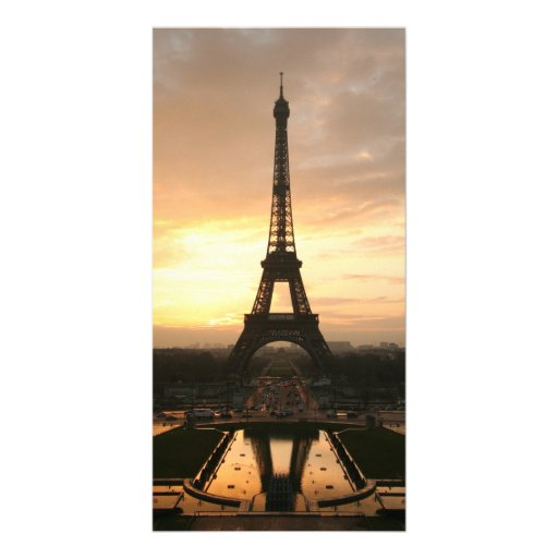 Tour eiffel at sunrise from the trocadero photo card template
