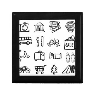 Tourism and Travel Icons Gift Box