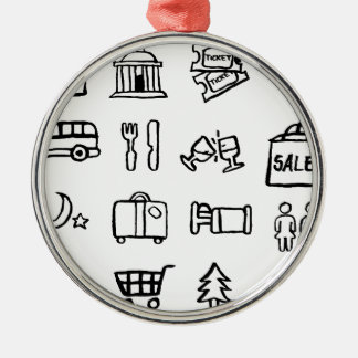 Tourism and Travel Icons Silver-Colored Round Decoration