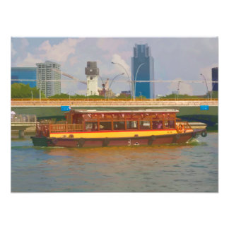 Tourist boat in Singapore on the river Photo Print