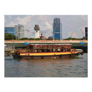 Tourist boat in Singapore on the river Photographic Print