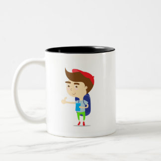 Tourist boy backpacker white mug