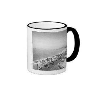 Tourist complex view at seashore B&W Ringer Mug