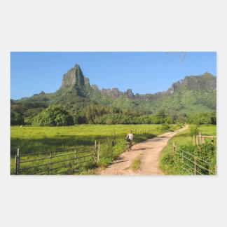Tourist cycling on tropical Moorea Rectangular Sticker