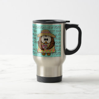 tourist owls girl 'n boy stainless steel travel mug
