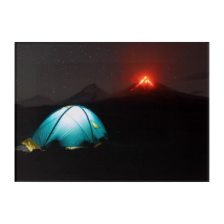 Tourist tent at night on background of volcano acrylic print