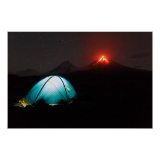 Tourist tent on background of erupting volcanoes poster