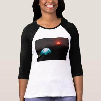 Tourist tent on background of eruption volcanoes T-Shirt