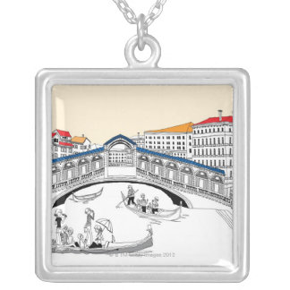 Tourist Traveling in Boats Silver Plated Necklace
