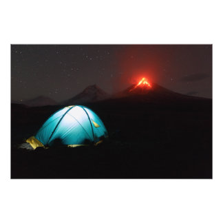 Touristic tent at night on background of volcano photo print