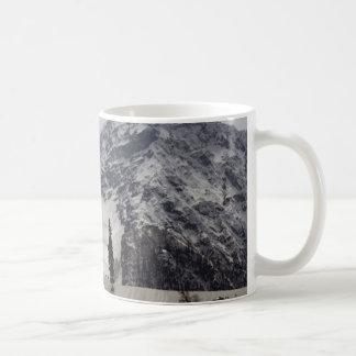Tourists and locals on the snow coffee mug